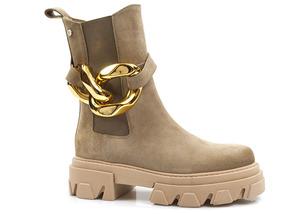 Buty damskie botki workery ze złotym łańcuchem Carinii B7064