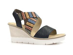Buty damskie sandały na koturnie Rieker 68518-14