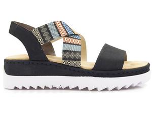 Buty damskie sandały na niskiej platformie Rieker V44G8-14