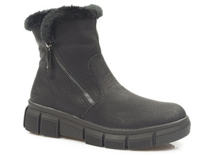 Buty damskie botki zimowe z kożuszkiem Rieker X3461-00
