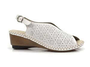 Buty damskie ażurowe sandały na niskim koturnie Rieker 66147-80