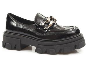 Buty damskie półbuty z ozdobnym łańcuchem Lemar 20083