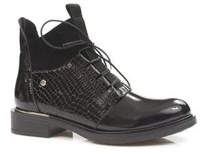 Buty damskie lakierowane trzewiki Lemar 60343