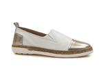 półbuty wsuwane lordsy Venezia 103E - kolor: biały+złoty