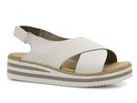 sandały na platformie Rieker - kolor: biały