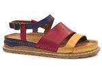 sandały soft Dolce Pietro - kolor: czerwony żółty