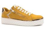 zamszowe trampki sneakersy Marco Tozzi  23706-26 - kolor: musztarda