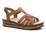 sandały na platformie Rieker 62918-22 - kolor: brąz