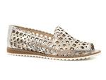 ażurowe lordsy sandały Venezia 9604 - kolor: złoty print