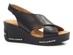 sandały na koturnie Ravini 0030-1081-301 - kolor: czarny