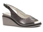 skórzane sandały na koturnie Filippo DS2150 - kolor: Gun metal