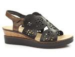 sandały na koturnie Rieker V38F7-00 - kolor: czarny