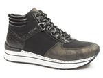 botki sneakersy Rieker N6942-90 - kolor: czarny