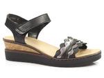 sandały na koturnie Rieker V38F3-00 - kolor: czarny