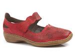 ażurowe półbuty Rieker 413G6-33 - kolor: czerwony